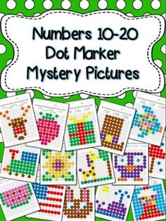 This is a set of 15 fun worksheets for young kids to practice colors and numbers 10-20. Each worksheet focuses on a few numbers for the students to recognize and color in with Do-a-Dot markers or Bingo Daubers to reveal the hidden picture. $