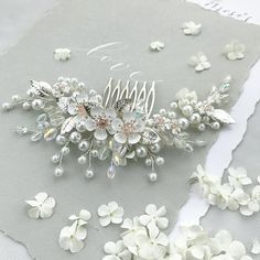 Crystal Flower Hair Comb, Bridal Hair Piece, Floral Pearl Comb Crystal Wedding Hair Clip Bridal Hair Accessory Trends 2019 - All For New Hairstyles Wedding Hair Clips, Wedding Hair Pieces, Flowers In Hair, Flower Hair, Diy Flowers, Fabric Flowers, Wedding Flowers, Wedding Dresses, Crystal Flower