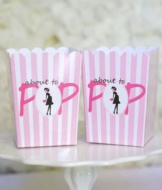 Ready to pop About to Pop baby shower favor popcorn boxes. So cute! Classy look.