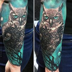 Mens Forearms Realistic Owl In Green Background Tattoo
