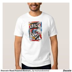 Staccato-Urban Edgy Tshirt with Hand Painted Abstract Art Brushstrokes in Bold Primary Colors