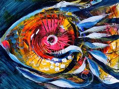 Modern Abstract Fish Art. Acrylic on stretched canvas, 9x12 inches