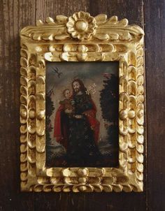 Etsy のSaint Joseph with the Infant Jesus Framed Retablo EX-VOTO Icon Hand-painted Art Antique Vintage /920(ショップ名:GliciniaANTIQUE)