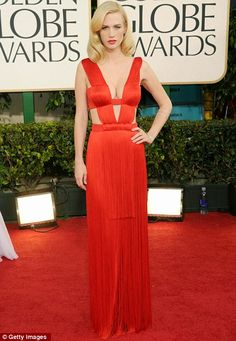 January Jones was red hot in #AtelierVersace @ the 2011 Golden Globes