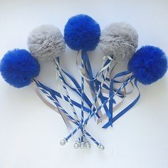 Items similar to Graduation Party Royal Blue and Silver Centerpiece Wands, Party Favors, DELUXE Tulle Pom Pom Wands, 5 pc set on Etsy Graduation Party Centerpieces, Graduation Theme, Party Favors, Graduation Ideas, Pom Pom Centerpieces, Silver Centerpiece, Tulle Poms, Pom Poms, Shoe Refashion