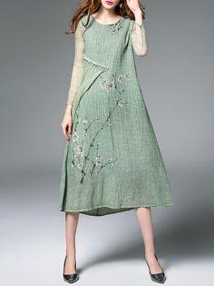 Shop Midi Dresses - Camel Linen Vintage Midi Dress online. Discover unique designers fashion at StyleWe.com.
