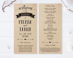 Modern Wedding Programs Printed On Kraft Cardstock Calligraphy For Elegand Ceremony