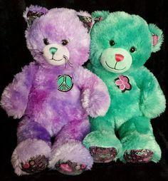 "Build-A-Bear Best Friend BFF 17"" Purple Peace Kitty & Teal Flower Bear NWOT #AllOccasion"