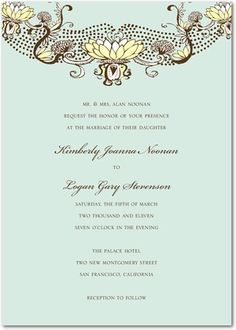 Signature White Wedding Invitations Vintage Magnolias - Front : Aloe
