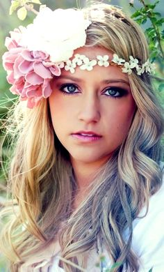 Boho bride's long down hair flower crown wedding hair ideas Toni Kami ⊱✿Flowers in her hair✿⊰