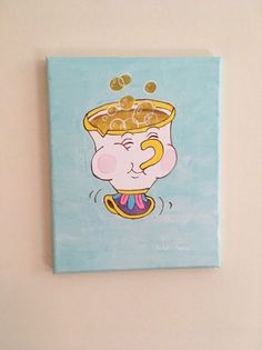 Items similar to Beauty and the Beast Chip inspired acrylic canvas painting on Etsy - Trend Disney Stuff 2019 Disney Canvas Paintings, Disney Canvas Art, Mini Canvas Art, Cute Paintings, Disney Art, Diy Painting, Painting & Drawing, Beginner Painting, Cartoon Painting