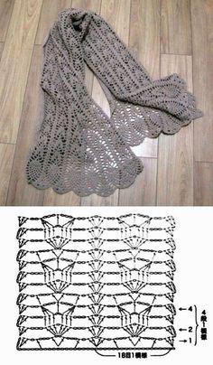 Crochet Shawl Diagram, Crochet Lace Scarf, Crochet Motifs, Crochet Shawls And Wraps, Crochet Chart, Knitted Shawls, Filet Crochet, Crochet Scarves, Crochet Clothes