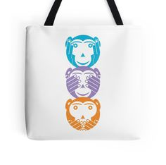 Three wise monkeys by Tony Hardy-vanDoorn. Available from Redbubble in 3 bag sizes from £12.16. Also available on other items such as t-shirts. You can see more of my designs & illustrations here http://www.redbubble.com/people/tjhardy?asc=u