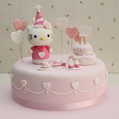 Hello Kitty Birthday cake of Hello Kitty's birthday! Hello Kitty Torte, Hello Kitty Birthday Cake, Hello Kitty Cupcakes, Hello Kitty Fondant, Cake Birthday, 22nd Birthday, Bolo Kitty, Bolo Da Hello Kitty, Deco Cupcake