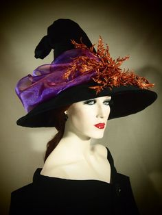 "Couture Witch Hat ""Wicked Fire"" 21 1/2"" OOAK on Etsy, $119.00"