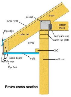 nail shed roof trusses to top plates . Roof Eaves, Fascia Board, Framing Construction, Drip Edge, Roof Trusses, Roof Detail, Roof Structure, Diy Shed, Building A Shed