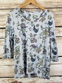 J J. Jill Elliptical Shirred Back Tunic Top Blue Floral Blouse Medium Soft Scoop #JJill #Blouse #Casual