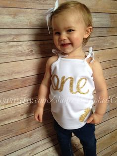 Gold One Birthday Tank Top/ 1st Birthday Gold Tank by BespokedCo