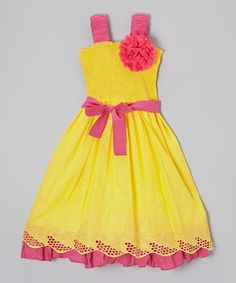 Look what I found on #zulily! Yellow & Pink Floral Eyelet Shirred Dress - Girls by Maggie Peggy #zulilyfinds