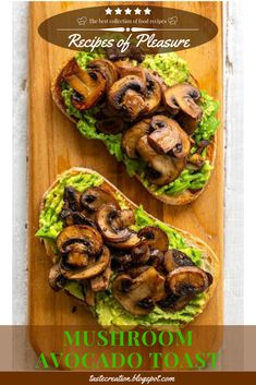 Mushroom Avocado Toast - This simple and flavorful vegan avocado toast is topped with warm skillet mushrooms and has a mildly garlic flavor. Mushroom Avocado Toast is perfect for brunch! Vegan Breakfast Recipes, Vegetarian Recipes, Vegan Avocado Recipes, Avocado Toast Recipe Vegan, Vegetarian Brunch, Healthy Brunch, Brunch Food, Healthy Organic Recipes, Avocado Sandwich Recipes