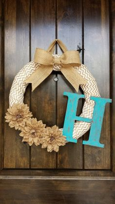 One of my faves! Chevron Spring Wreath with Burlap Bow and by LilHootsBoutique.