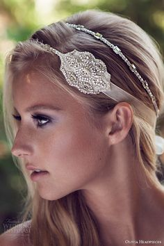 olivia headpieces 2015 wedding bridal crystal head band organza ribbon rayon tassels style wanda