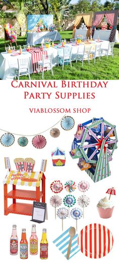 Carnival Birthday Party Supplies for an amazing Party at the V. Circus Carnival Party, Kids Carnival, Circus Theme Party, Carnival Birthday Parties, First Birthday Parties, Birthday Party Themes, Birthday Supplies, 2nd Birthday, Carnival Party Supplies