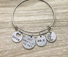 Bangle Bracelets With Charms, Bangles, Running Jewelry, Gifts For Runners, Motivational Gifts, Meaningful Jewelry, Dainty Necklace, Marathon, Jewelry Gifts