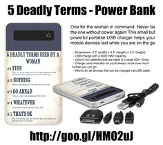5 Deadly Terms - Power Bank , 4000 mAh. One for the woman in command of home or office. Never be the one without power again! This small but powerful portable USB charger helps your mobile devices last while you are on the go http://www.zazzle.com/5_deadly_terms_power_bank_4000_mah-256806832602990852 #electronics #gadgets #giftforher #humor