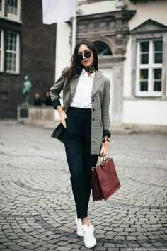 Plaid blazer,  white tee,black high waisted trousers, sneakers and burgundy bag