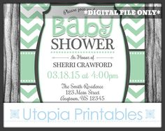 Mint Green Gray Chevron Baby Shower Invitation Party Modern Contemporary Gender Neutral Theme Digital Printable Customized 5x7 White Grey