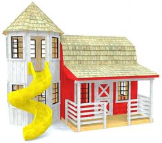 Barn playhouse plan with attached silo and slide Barn Playhouse, Kids Indoor Playhouse, Outside Playhouse, Backyard Playhouse, Build A Playhouse, Simple Playhouse, Playhouse Ideas, Outdoor Playhouses, Playhouse Slide