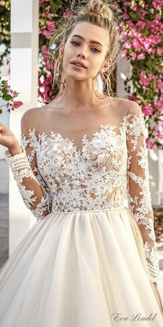 eva lendel 2017 bridal long sleeves off the shoulder sweetheart neckline heavily embellished bodice romantic princess a line wedding dress sheer back royal train (paige) zv