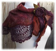 Autumn Shawl =Flower Lace Scarf - wrap - shawlette - lace  scarf - flower scarf - autumn scarf