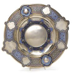 A Large Russian Silver and Champlevé Enamel Bread and Salt Plate, Khlebnikov…