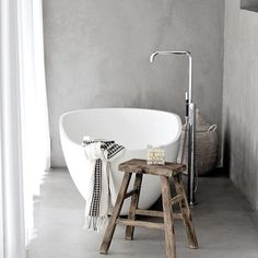 Weekend #bath escape !! Loving the idea of a freestanding bath and a place to relax  #bathroom  #style  via @whitelivingetc