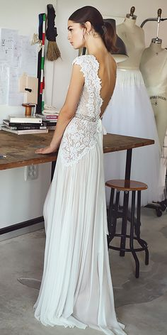 18 Vintage Lace Wedding Dresses Which Impress Your Mind ❤ lace sheath vintage bare open back wedding dresses lihi hod Full gallery: https://weddingdressesguide.com/vintage-lace-wedding-dresses/