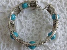 Blue Turquoise Tibetan Silver Cuff Bracelet by CaseyRoseCollection, $12.00