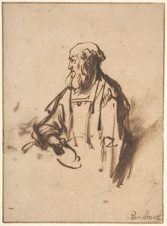 Rembrandt van Rijn, Old Man in Profile, 1620-69, pen and brown ink, brush and brown wash Art Sketches, Art Drawings, Rembrandt Drawings, Brush Drawing, Dancing Drawings, Dutch Golden Age, European Paintings, Dutch Artists, Amazing Drawings