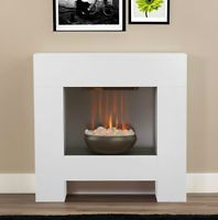 ELECTRIC WHITE SURROUND PEBBLE FIRE MODERN CONTEMPORARY WALL FIREPLACE SUITE