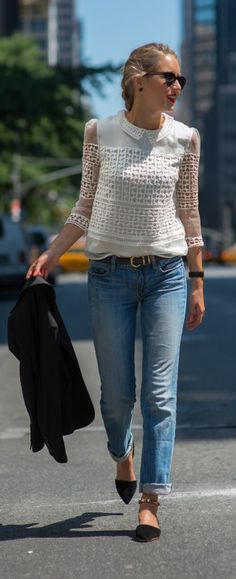 casual friday: crochet lace collared shirt, rolled boyfriend jeans, black blazer, braided hair + gold ankle strap dorsay flats
