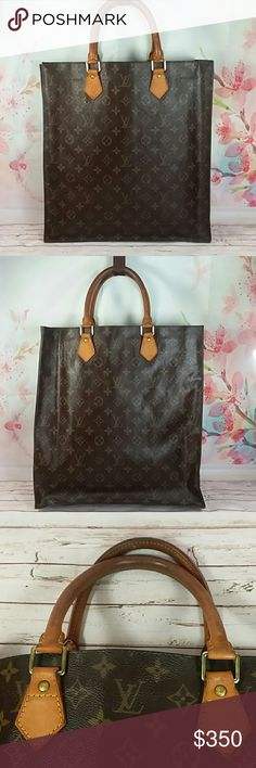 2a7a79f4fa Authentic Louis Vuitton Monogram Sac Plat Satchel Canvas is good. Straps  and leather showed signs