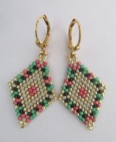 Seed Bead Earrings Copyright 2016 Patti Ann by pattimacs on Etsy Beaded Earrings Patterns, Seed Bead Patterns, Beaded Bracelets, Seed Bead Jewelry, Seed Bead Earrings, Seed Beads, Brick Stitch Earrings, Beads And Wire, Bracelets