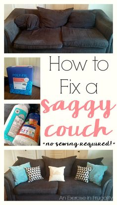 How to Fix a Sagging Couch- This is genius! Fix your lumpy, saggy couch instead of buying new. So much cheaper: about $36! No sewing! Why didn't I think of this before. No more flat cushions!