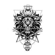 Lion's Head Geometric Tattoo Artwork