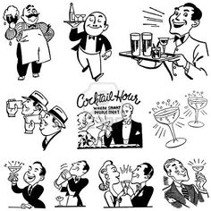 Clipart Retro Black And White Cocktail Hour Scenes - Royalty Free Vector Illustration by BestVector Vintage Illustration Art, Free Vector Illustration, Illustrations, Vintage Bar, Vintage Girls, Red Wine Drinks, Black And White Beach, Brush Drawing, Clip Art Pictures