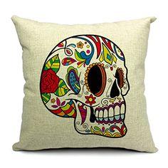 RUBIHOME Halloween Mexican Sugar Skull Cushion(No inner) Polyester Decorative Throw Pillow Sofa Home Decor Gift for Friend Cheap Throw Pillow Covers, Sofa Pillow Covers, Sofa Throw Pillows, Linen Pillows, Throw Pillow Cases, Cushion Covers, Skull Color, Skull Pillow, Sofa Home