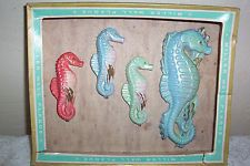 Vintage Miller Chalkware Seahorse Wall Plaques in OB 1 is dmg.