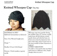 Knitting PATTERN- Jughead Hat, Whoopee Cap, Riverdale Hat