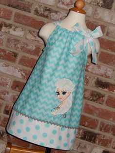 Disney Frozen Elsa Chevron Aqua Pillowcase by Just4Princess